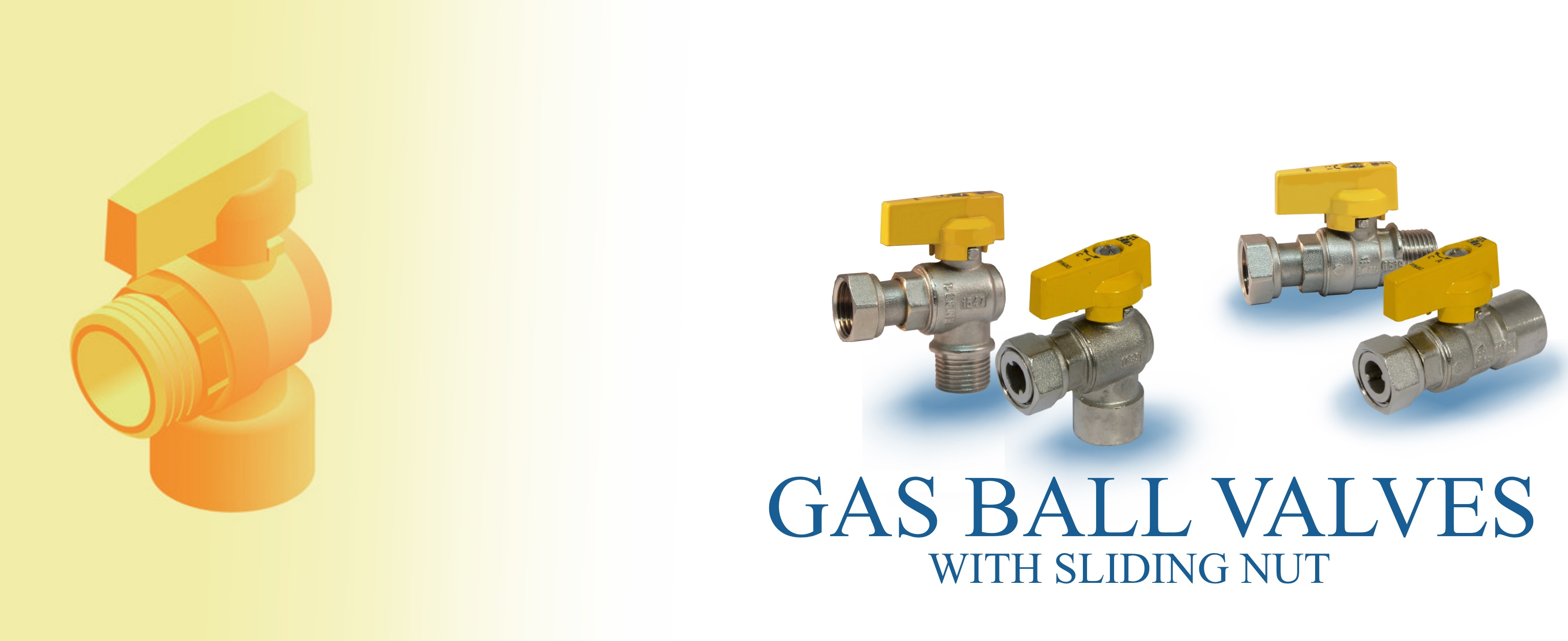 Gas ball valves with sliding nut